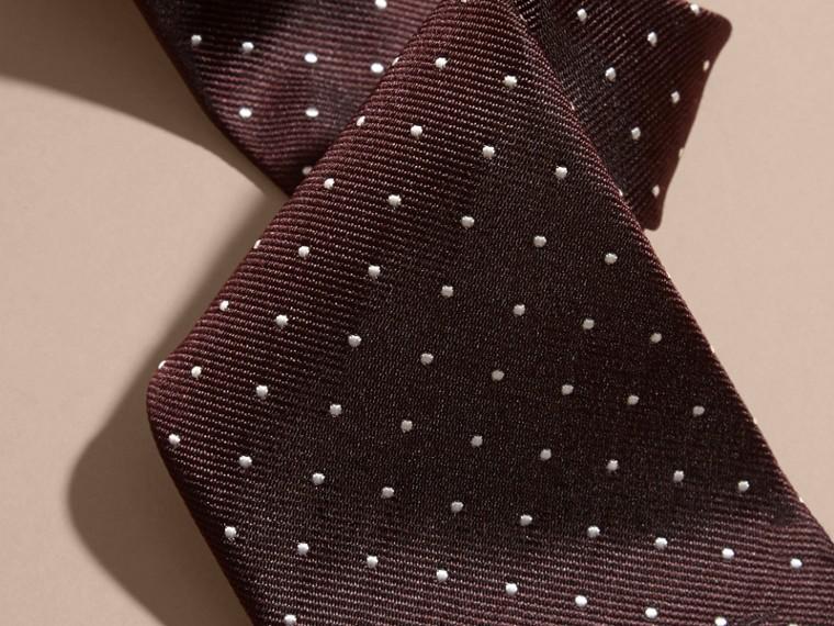 Vermelho claret Gravata de sarja de seda com estampa de poás e corte moderno - cell image 1