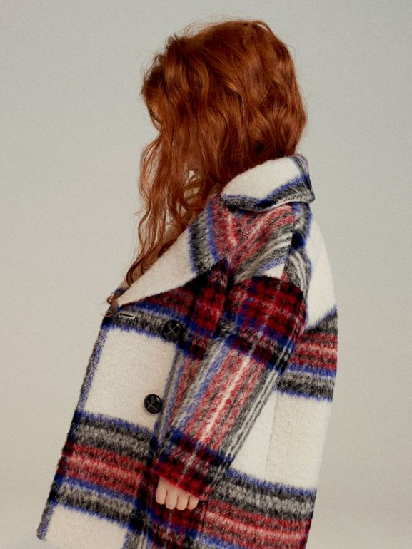 Tartan Wool Alpaca Blend Tailored Coat in Natural White - Children | Burberry - cell image 1