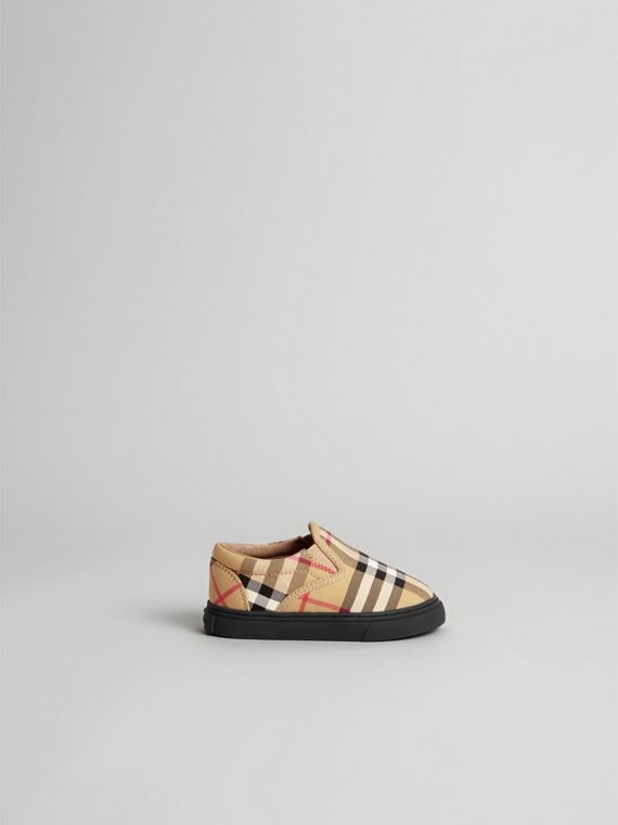 Vintage Check and Leather Slip-on Sneakers in Antique Yellow/black | Burberry - cell image 3