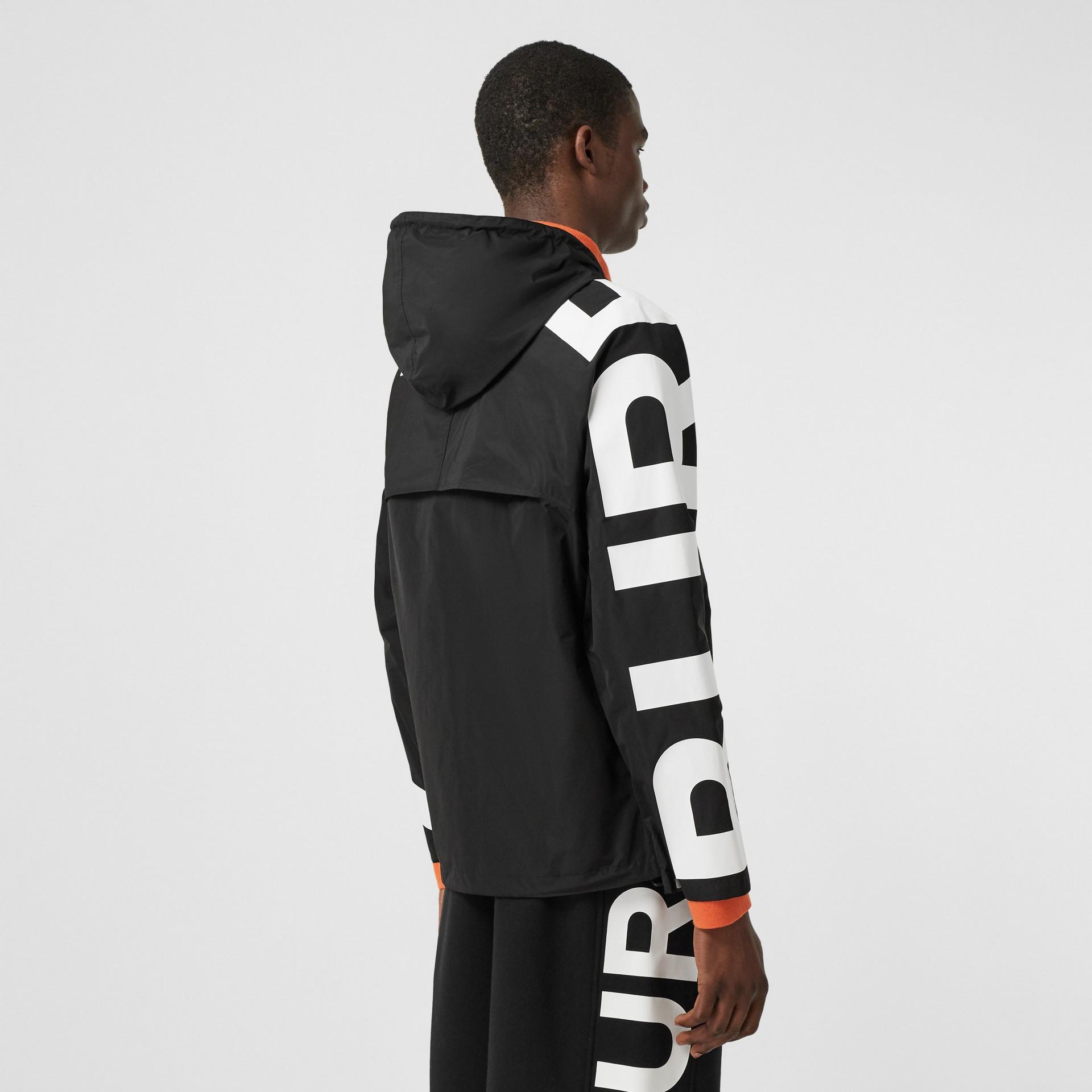 Logo Print Shape-memory Taffeta Hooded Jacket in Black | Burberry United Kingdom - gallery image 2