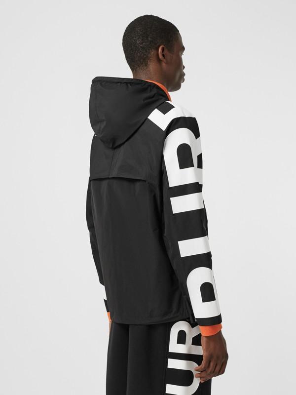 Logo Print Shape-memory Taffeta Hooded Jacket in Black | Burberry United Kingdom - cell image 2