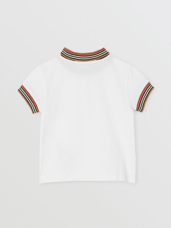 Stripe Detail Cotton Polo Shirt in White - Children | Burberry - cell image 3