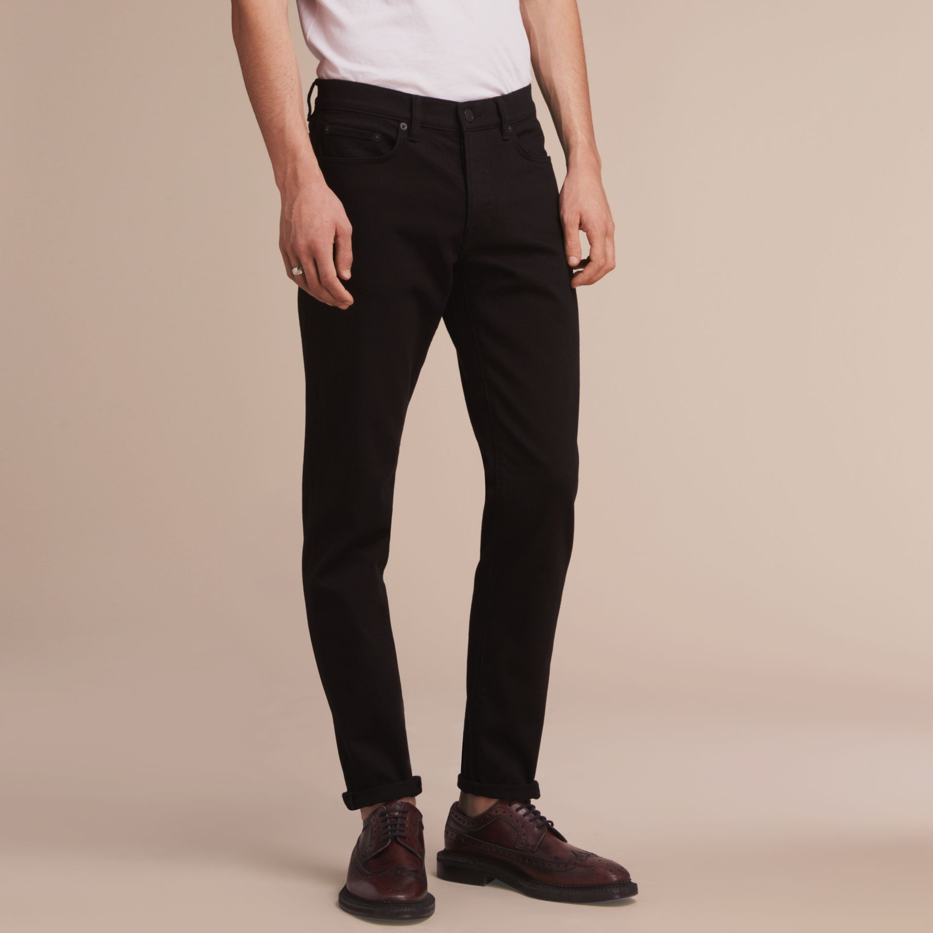 Relaxed Fit Stretch Jeans in Black - Men | Burberry - gallery image 7