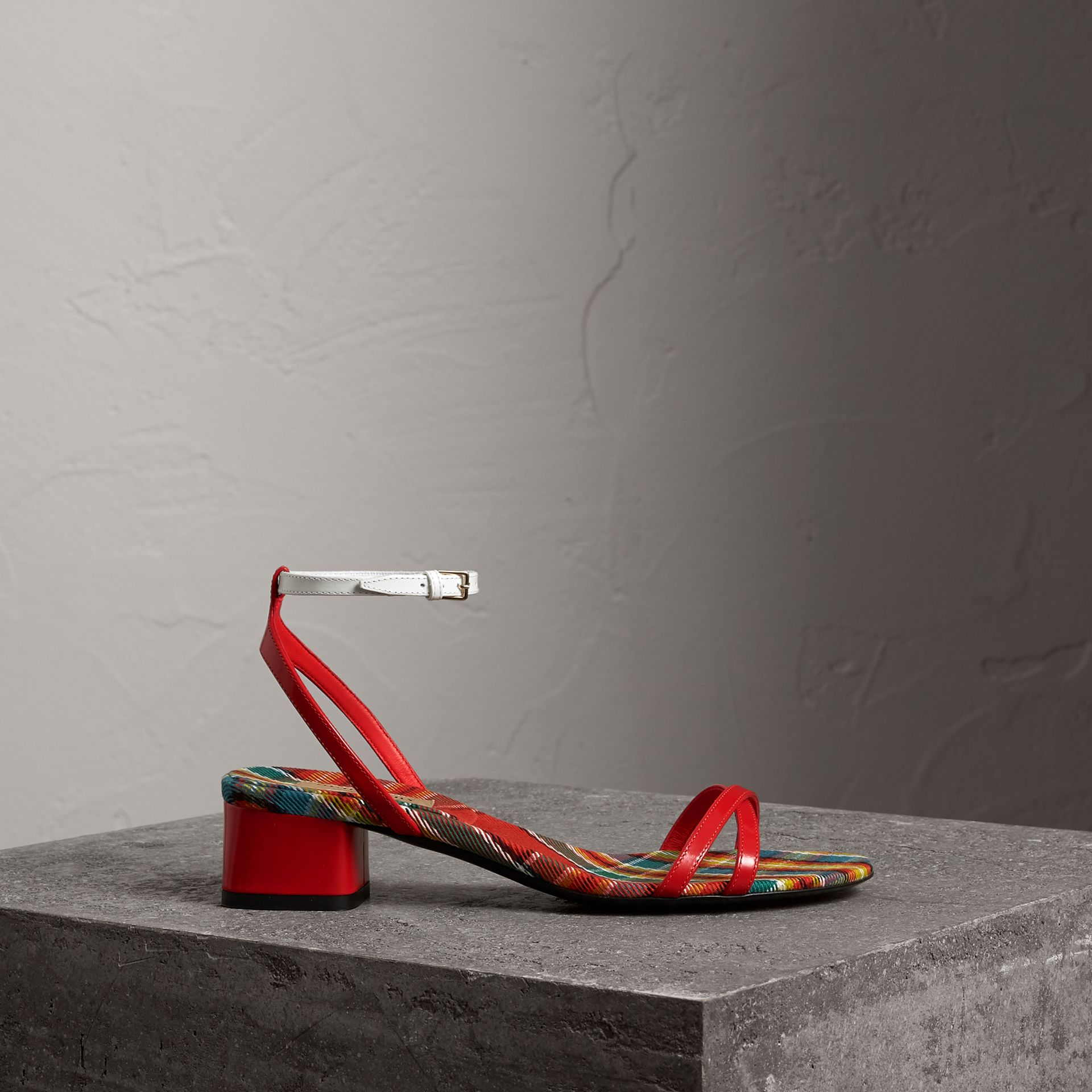 Tartan and Patent Leather Block-heel Sandals in Orange Red - Women | Burberry - gallery image 0
