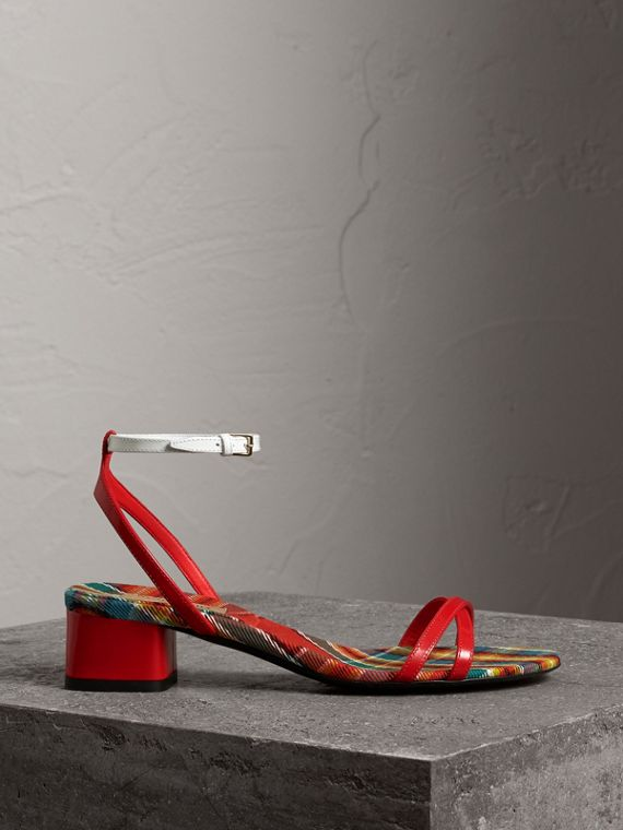 Tartan and Patent Leather Block-heel Sandals in Orange Red