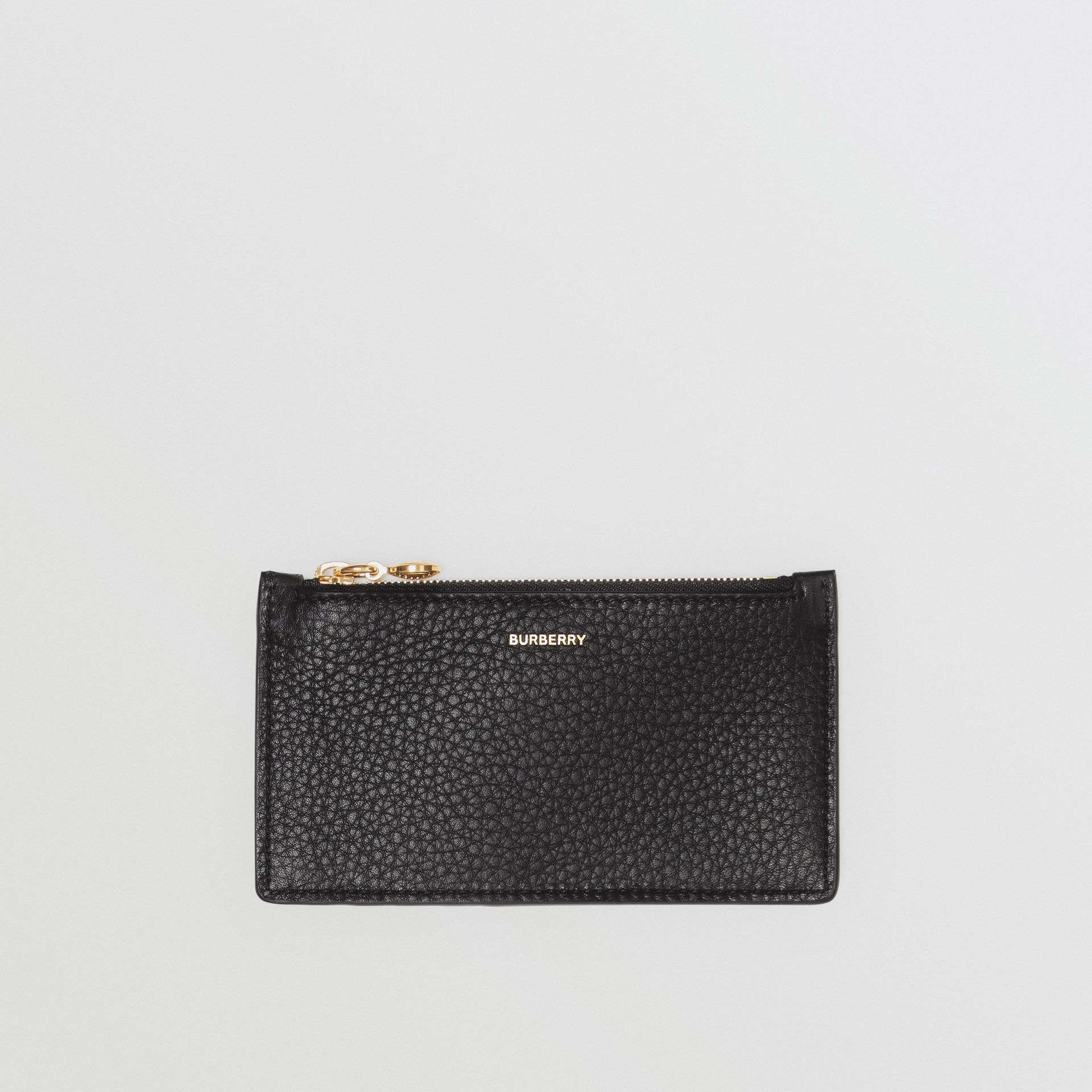 Leather Zip Card Case in Black - Women | Burberry - gallery image 0