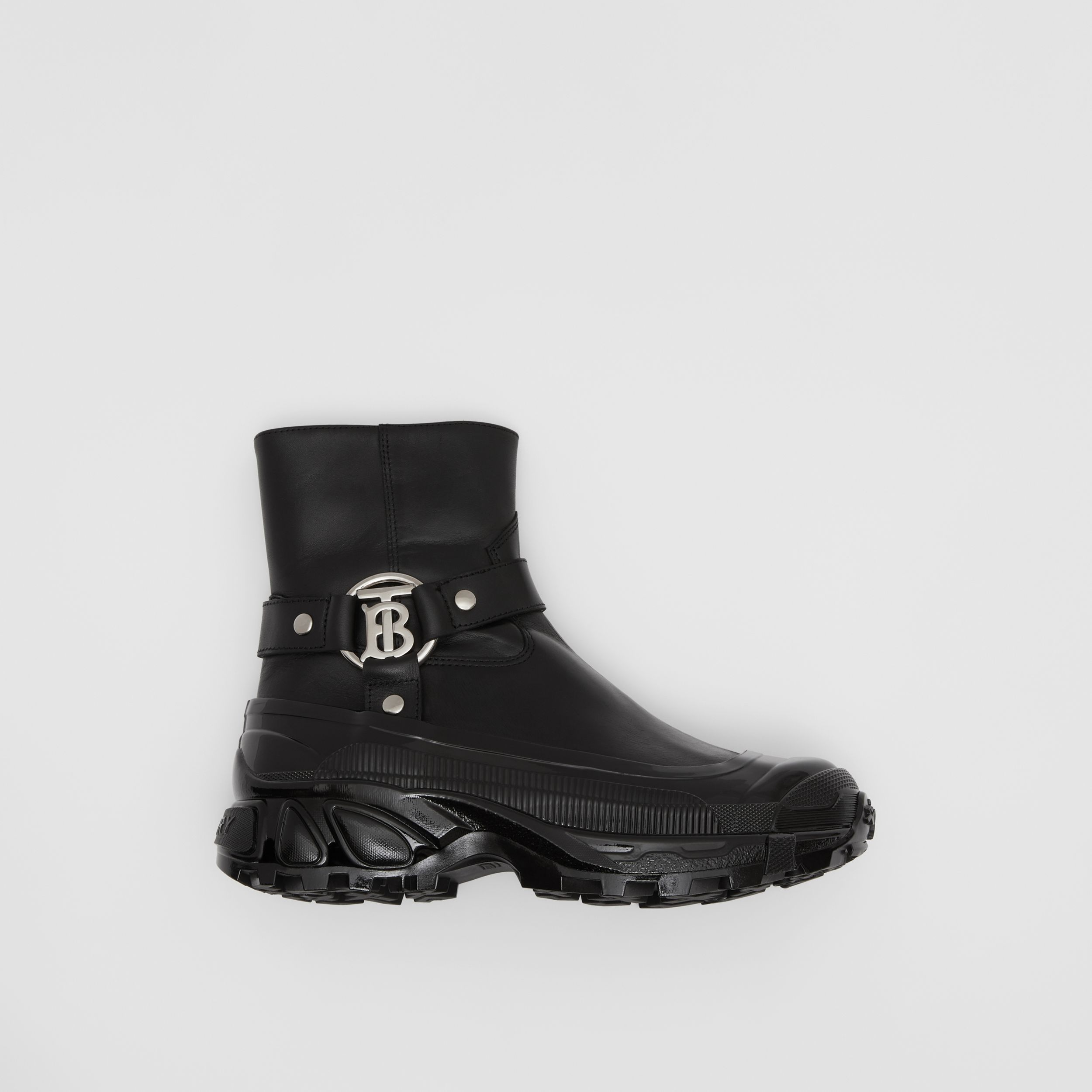 Monogram Motif Buckle Leather Boots in Black - Women | Burberry Australia - 1