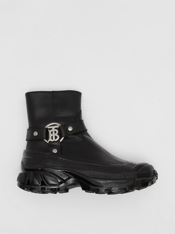 Monogram Motif Buckle Leather Boots in Black