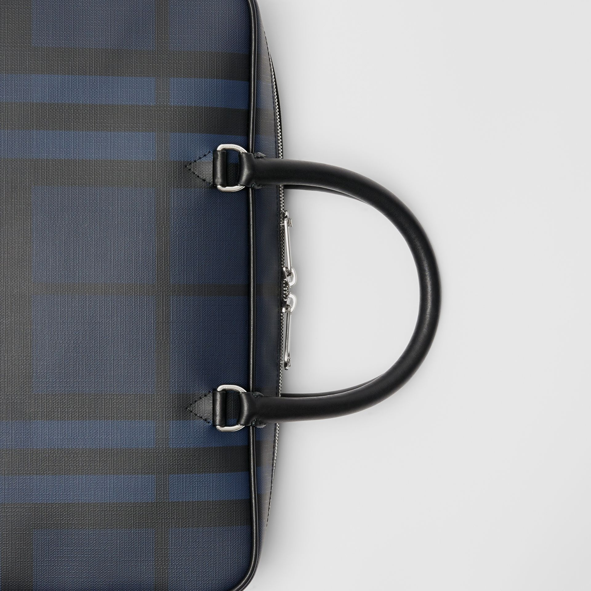 London Check and Leather Briefcase in Navy/black - Men | Burberry Singapore - gallery image 1