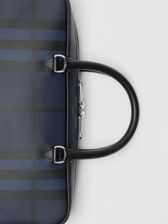 London Check and Leather Briefcase in Navy/black - Men | Burberry Singapore - cell image 1
