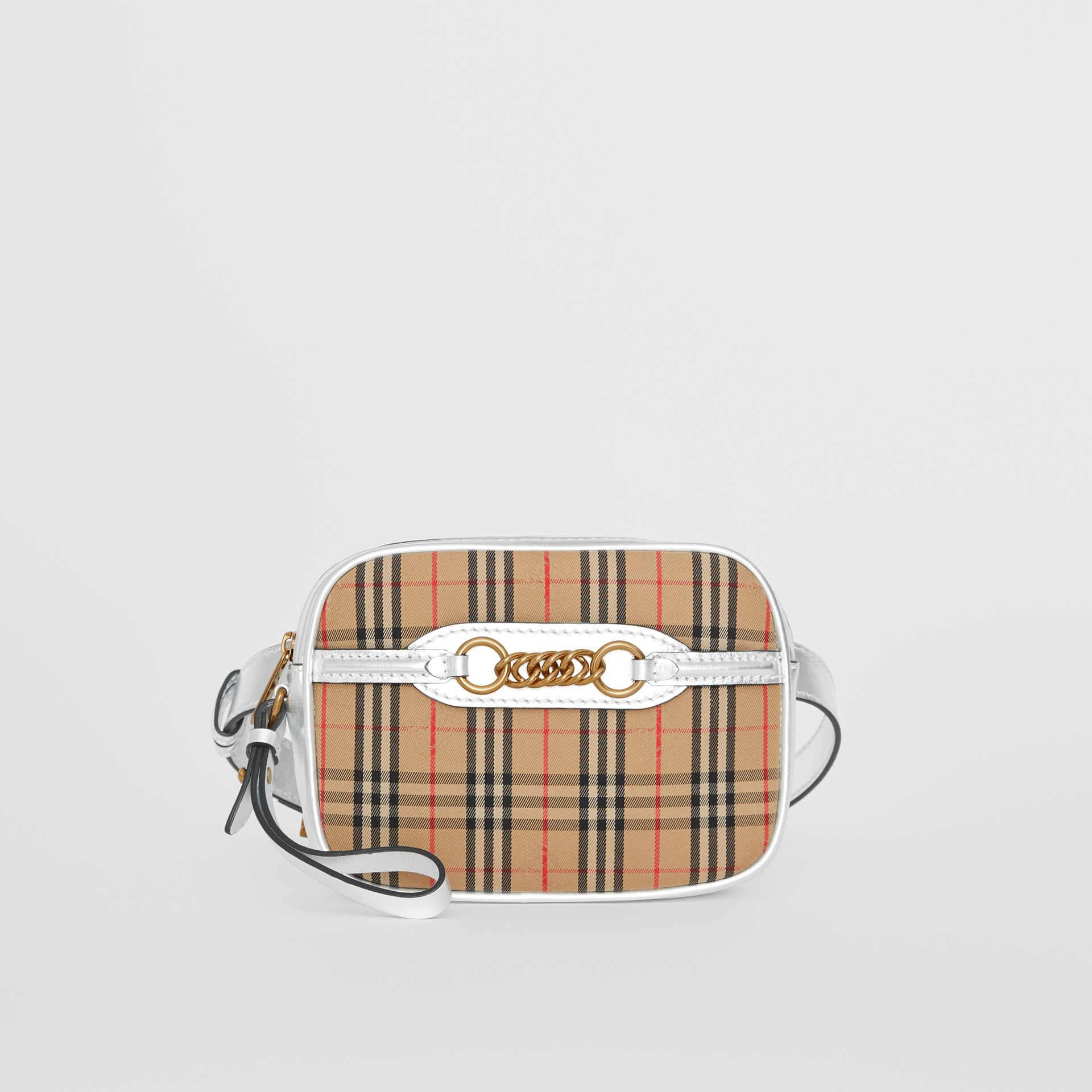 The 1983 Check Link Bum Bag with Leather Trim in Silver - Women | Burberry Hong Kong - gallery image 4