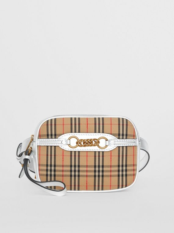 The 1983 Check Link Bum Bag with Leather Trim in Silver