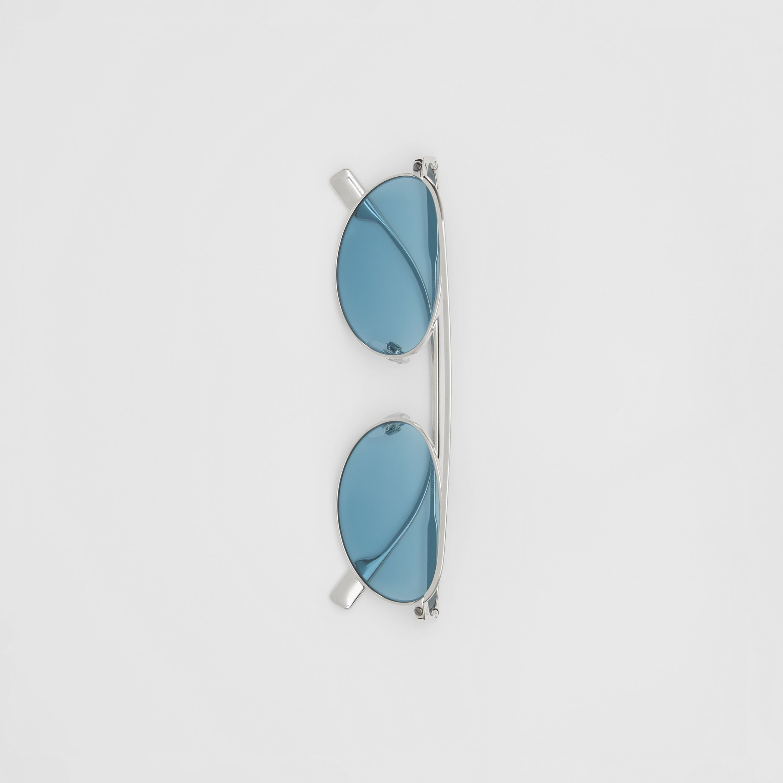 Oval Frame Sunglasses in Light Blue - Women | Burberry - 4
