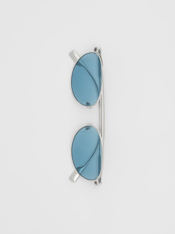 Oval Frame Sunglasses in Light Blue - Women | Burberry - cell image 3