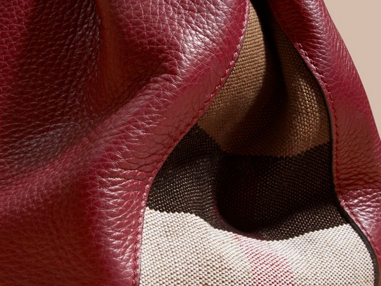 Burgundy red Medium Check Detail Leather Tote Bag - cell image 1