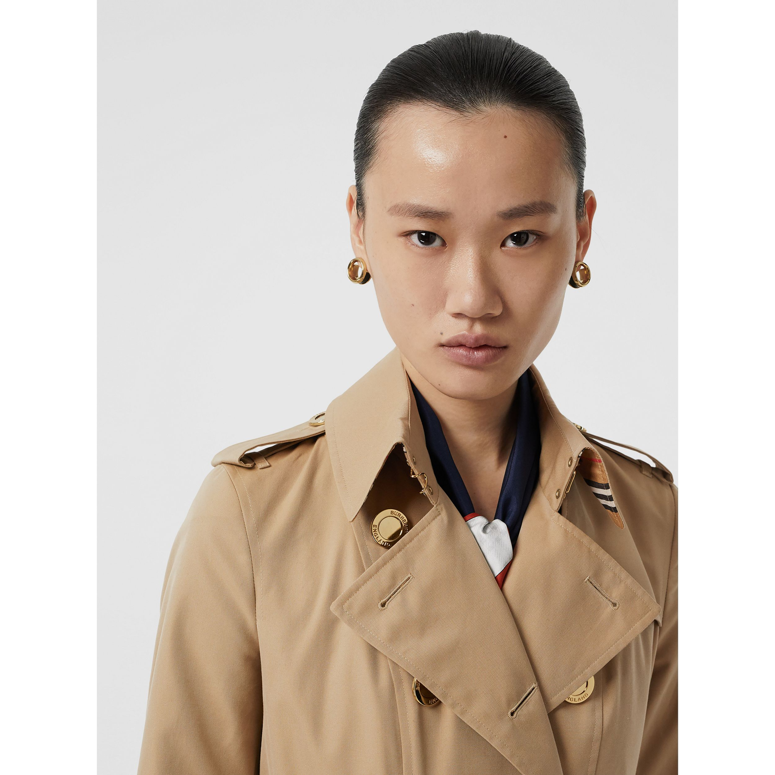 Gold Button Cotton Gabardine Trench Coat in Honey - Women | Burberry - 2