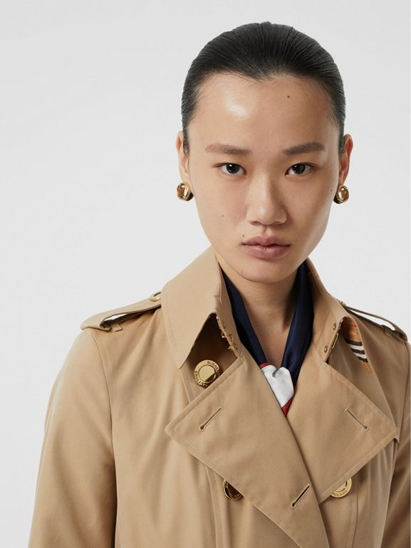 Gold Button Cotton Gabardine Trench Coat in Honey - Women | Burberry - cell image 1