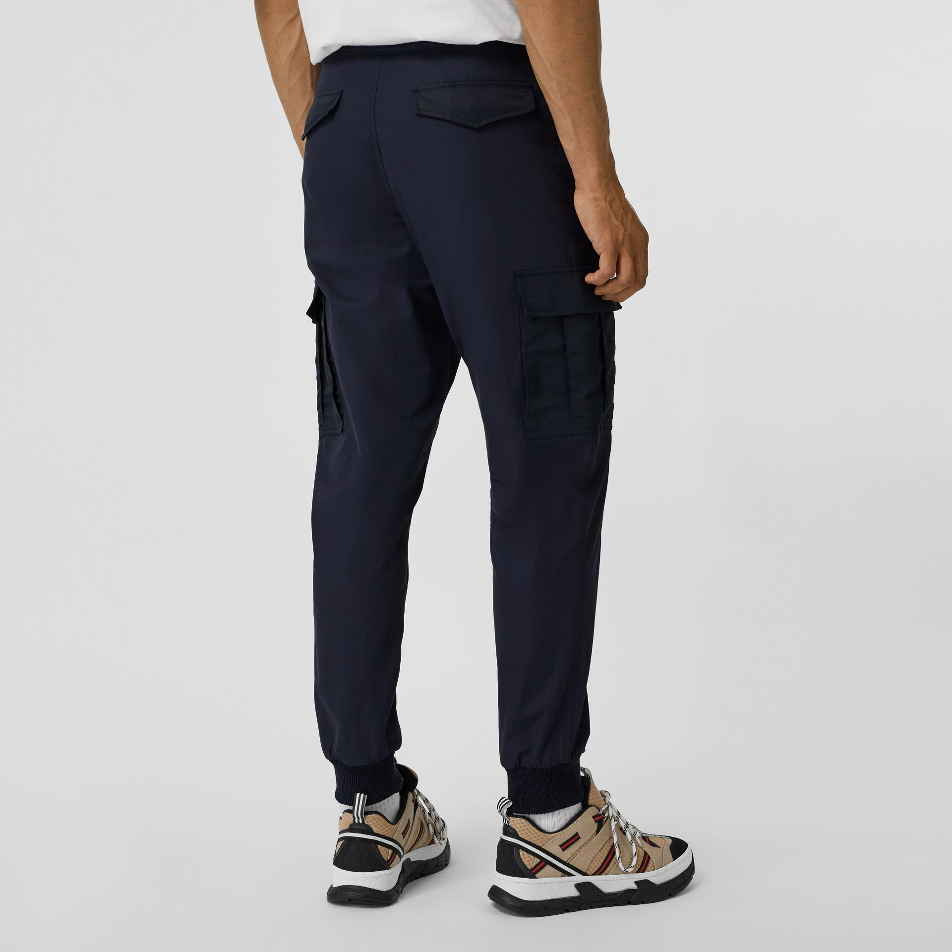 Cotton Tapered Cargo Trousers in Navy - Men | Burberry - gallery image 2