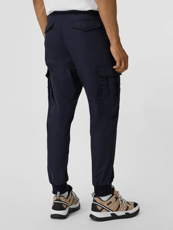 Cotton Tapered Cargo Trousers in Navy - Men | Burberry United Kingdom - cell image 2