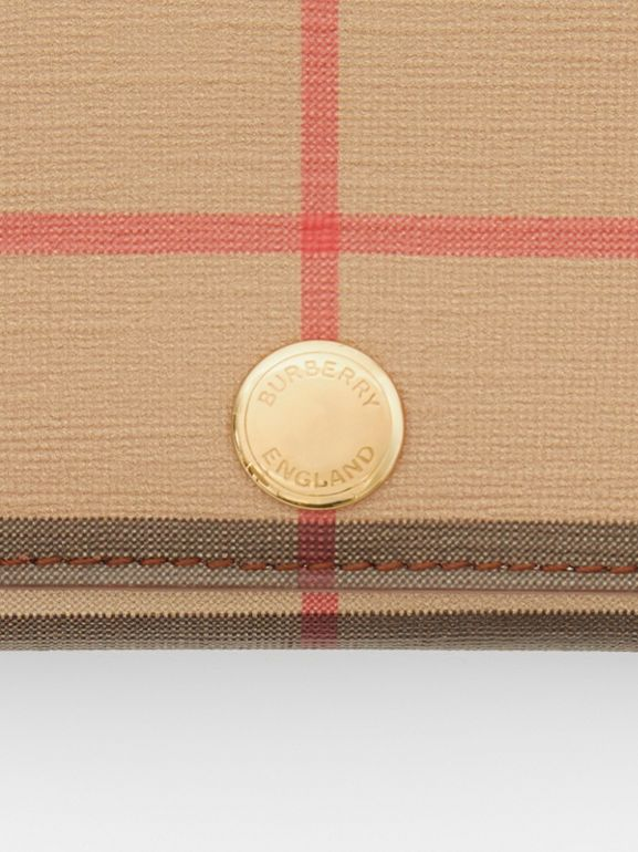 Small Vintage Check E-canvas Folding Wallet in Malt Brown - Women | Burberry - cell image 1