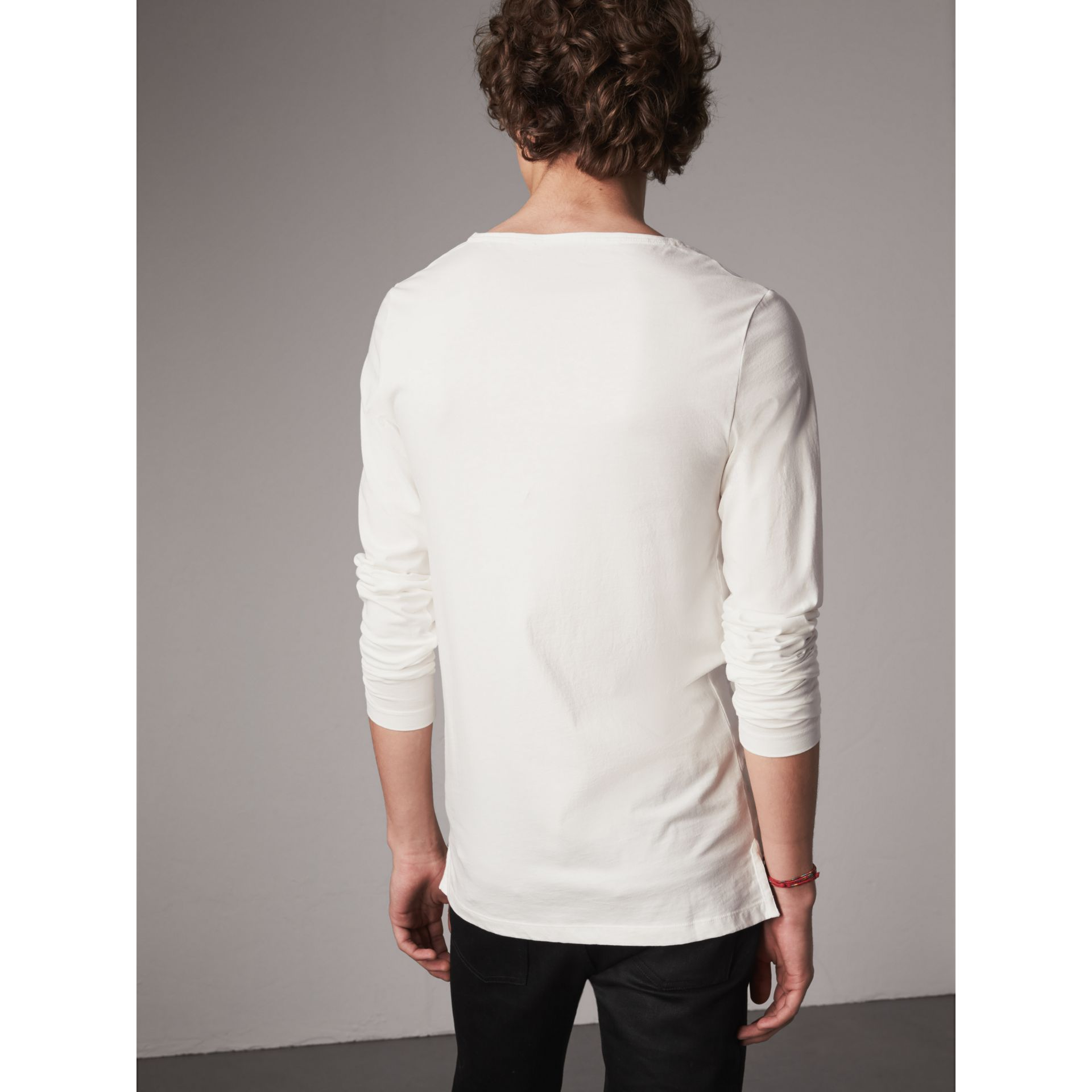 Long-sleeve Embroidered Cotton Top in Off White - Men | Burberry Singapore - gallery image 2