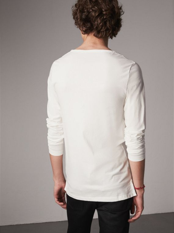 Long-sleeve Embroidered Cotton Top in Off White - Men | Burberry Singapore - cell image 2