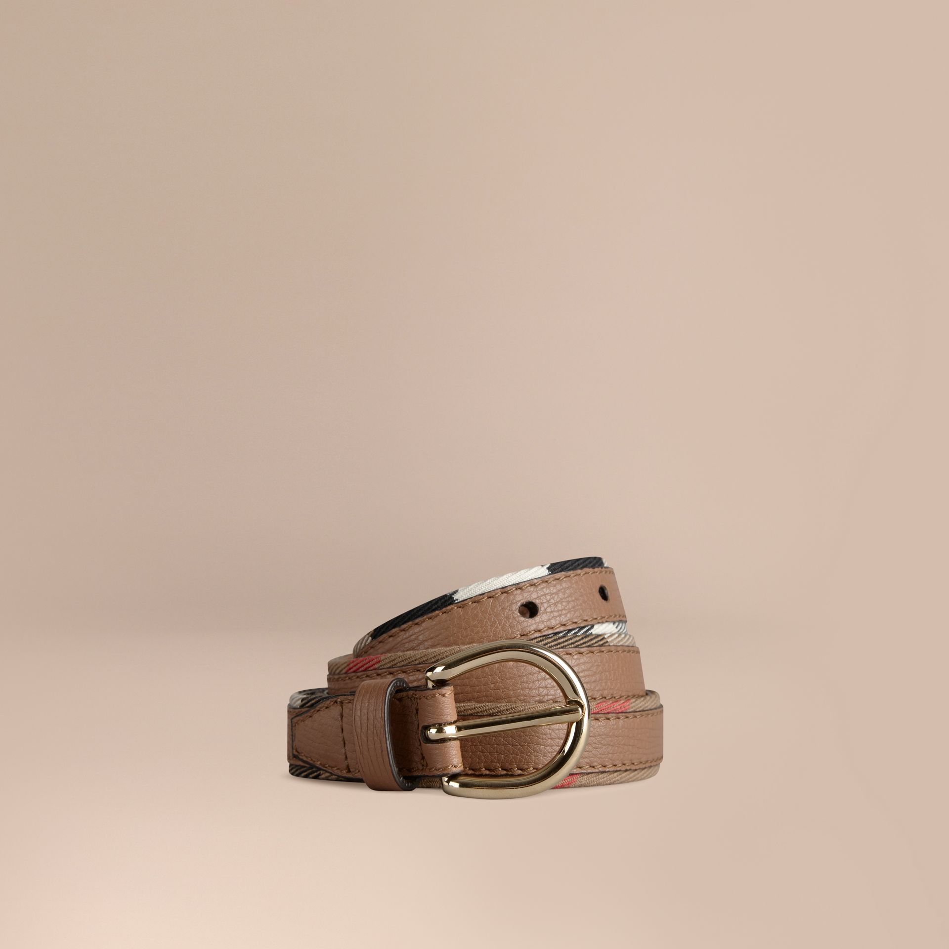 Dark sand House Check and Bridle Leather Belt - gallery image 1