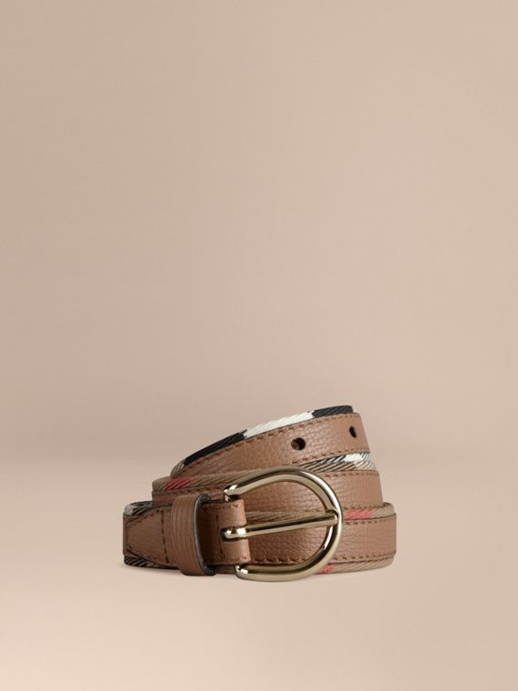 House Check and Bridle Leather Belt Dark Sand