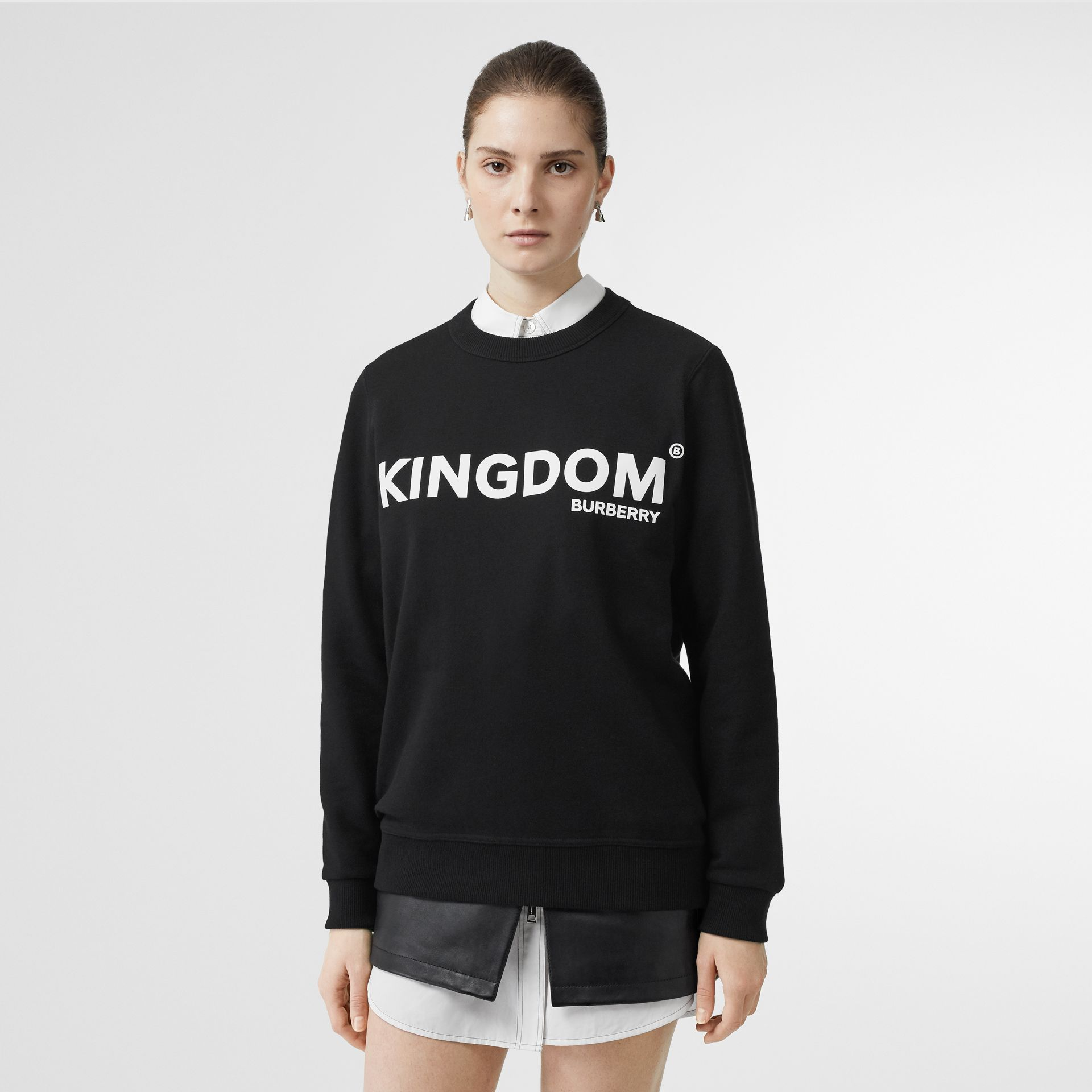 Kingdom Print Cotton Sweatshirt in Black - Women | Burberry - gallery image 4