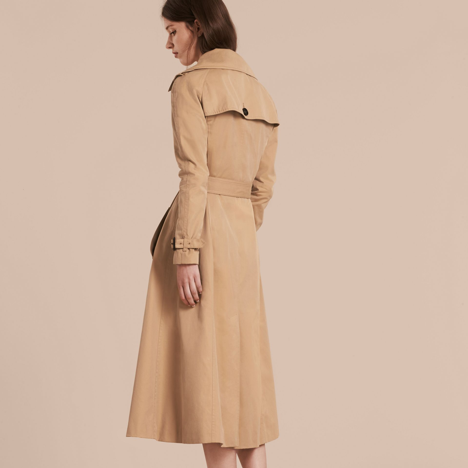 Honey Cotton Gabardine A-line Trench Coat - gallery image 3