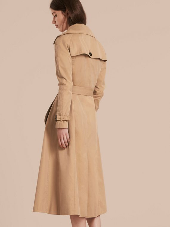 Honey Cotton Gabardine A-line Trench Coat - cell image 2