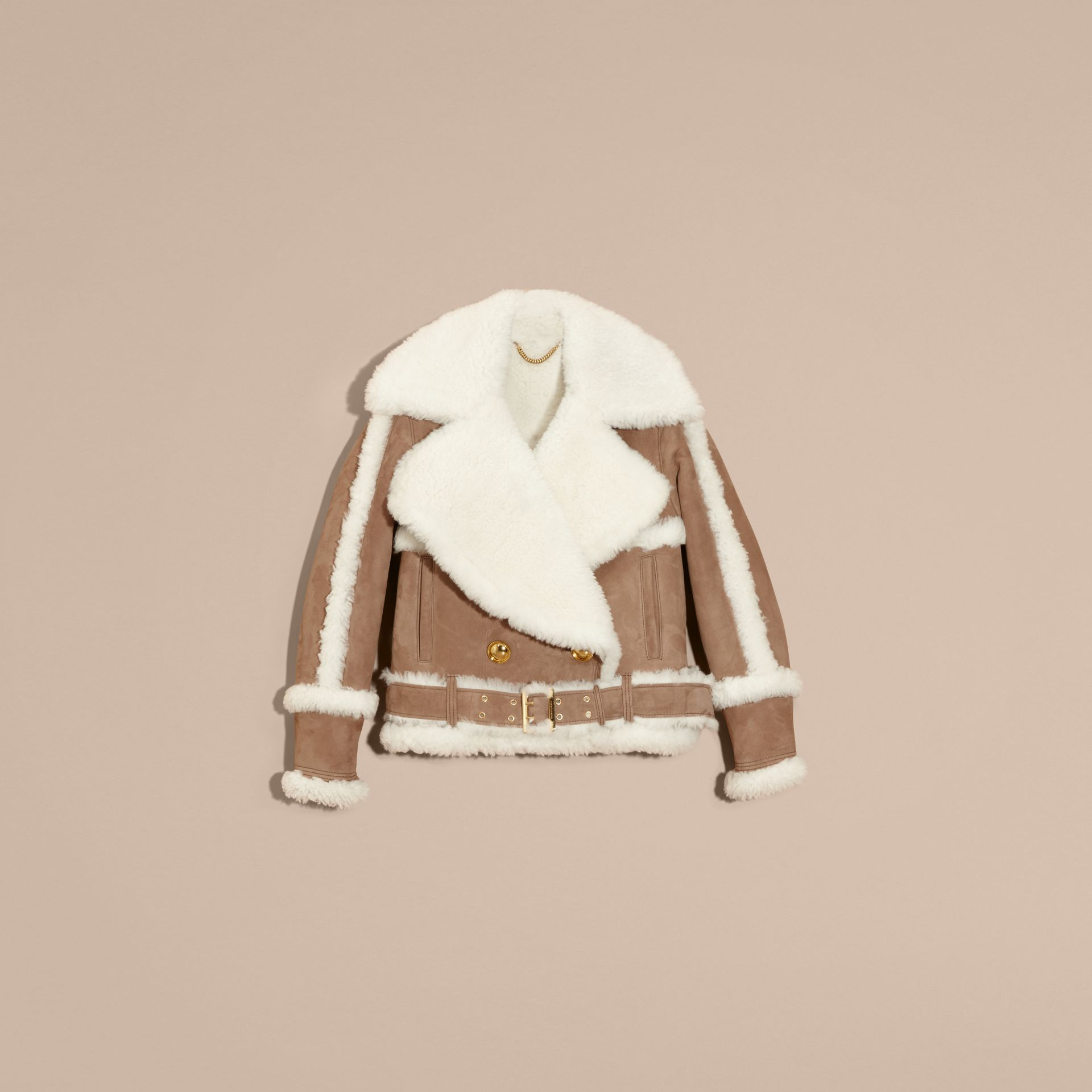 Camel Cropped Suede and Shearling Aviator Jacket - gallery image 4