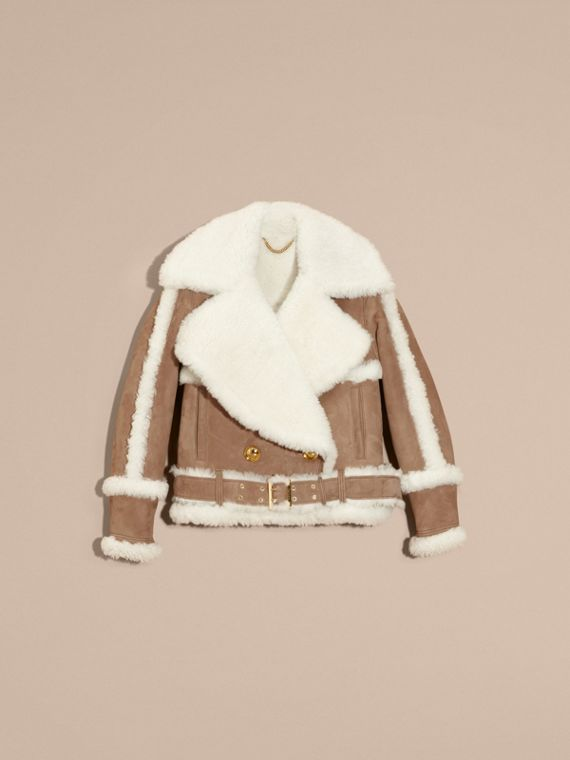 Camel Cropped Suede and Shearling Aviator Jacket - cell image 3