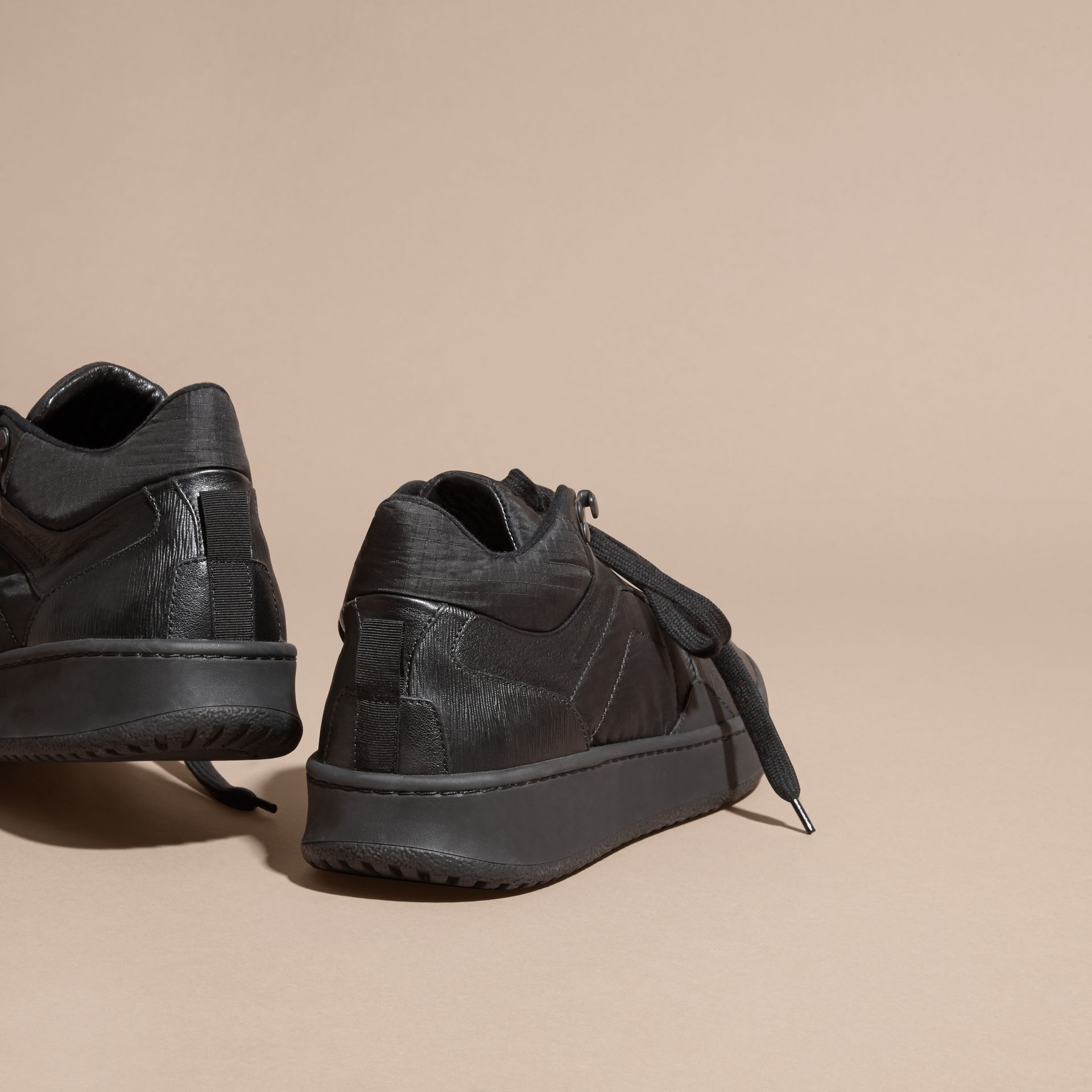 Black Ripstop and Leather Trainers - gallery image 3