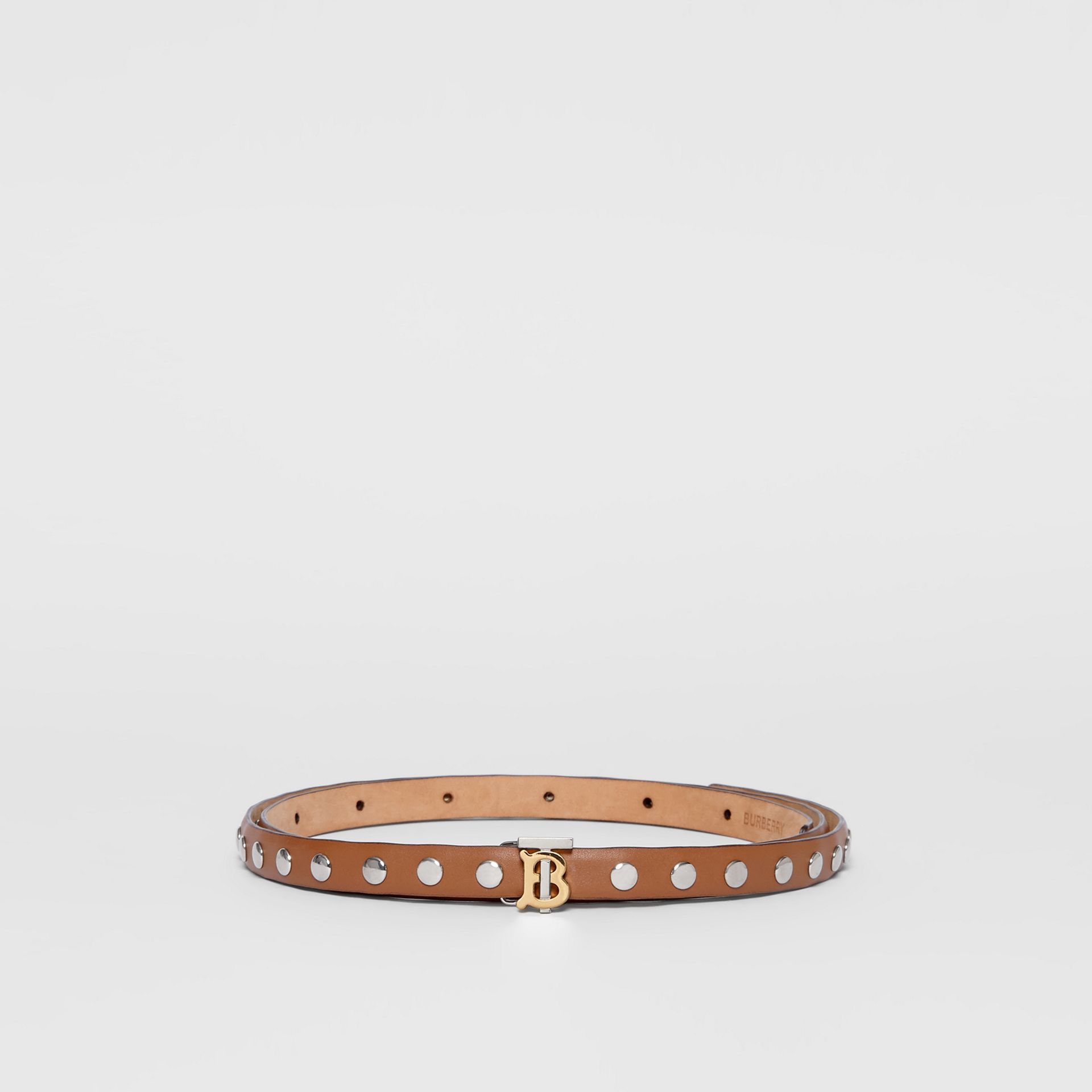 Monogram Motif Studded Leather Belt in Malt Brown/palladio - Women | Burberry - gallery image 3