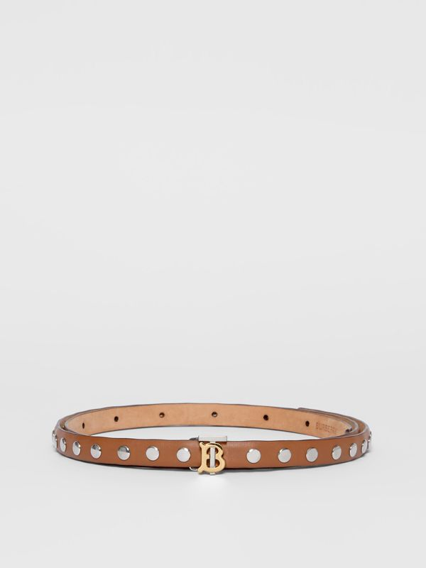 Monogram Motif Studded Leather Belt in Malt Brown/palladio - Women | Burberry - cell image 3