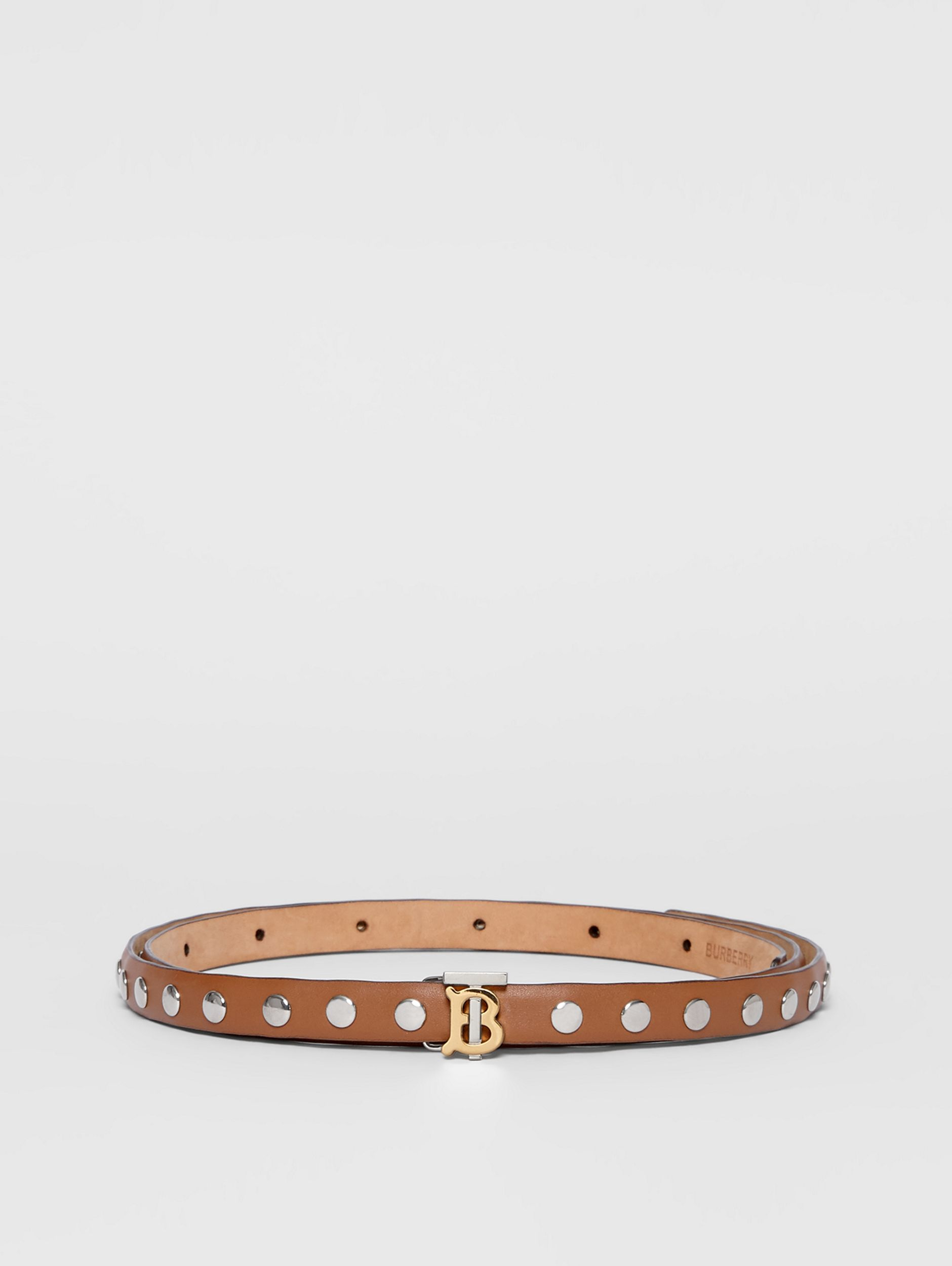 Monogram Motif Studded Leather Belt in Malt Brown/palladio - Women | Burberry - 4