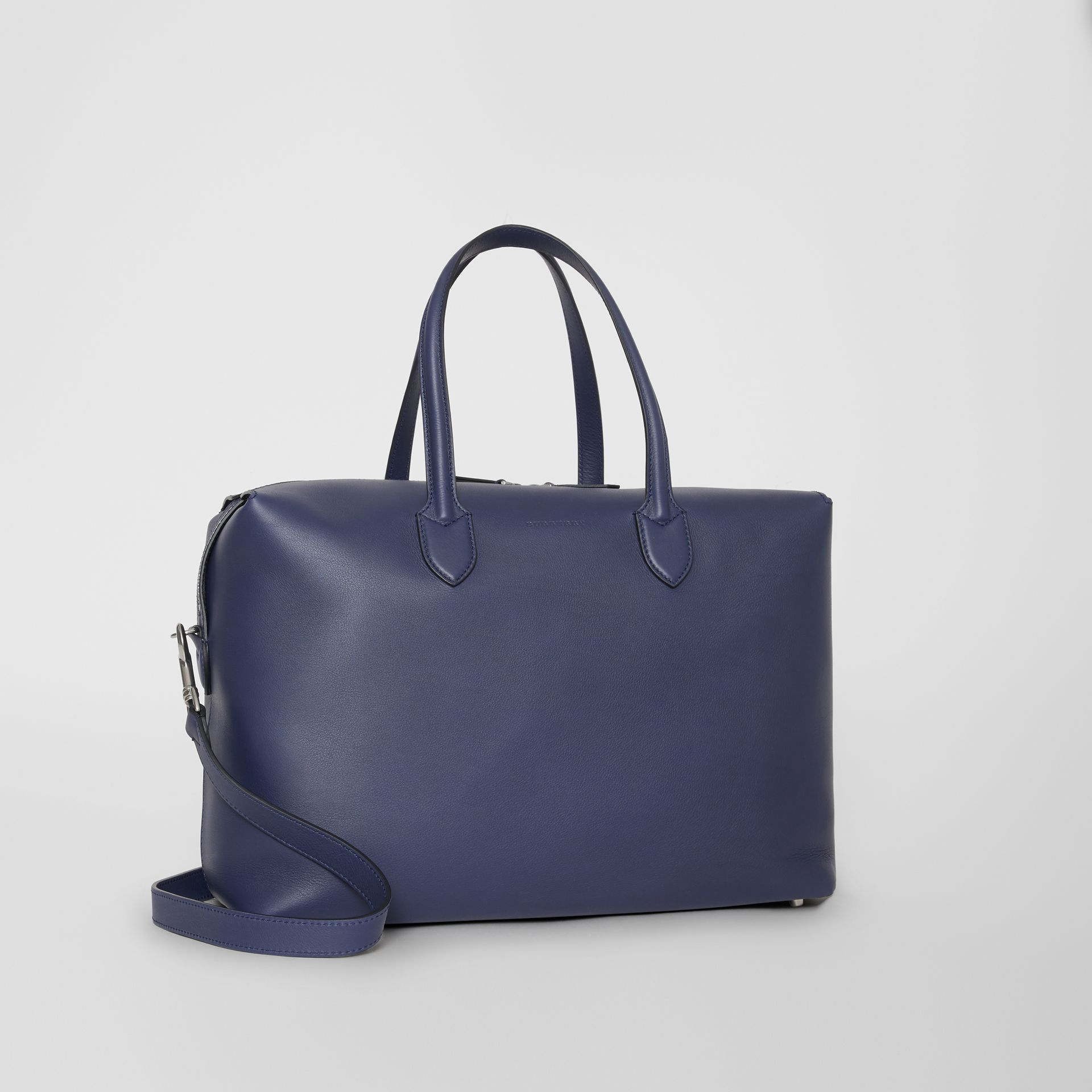 Soft Leather Holdall in Regency Blue - Men | Burberry - gallery image 5