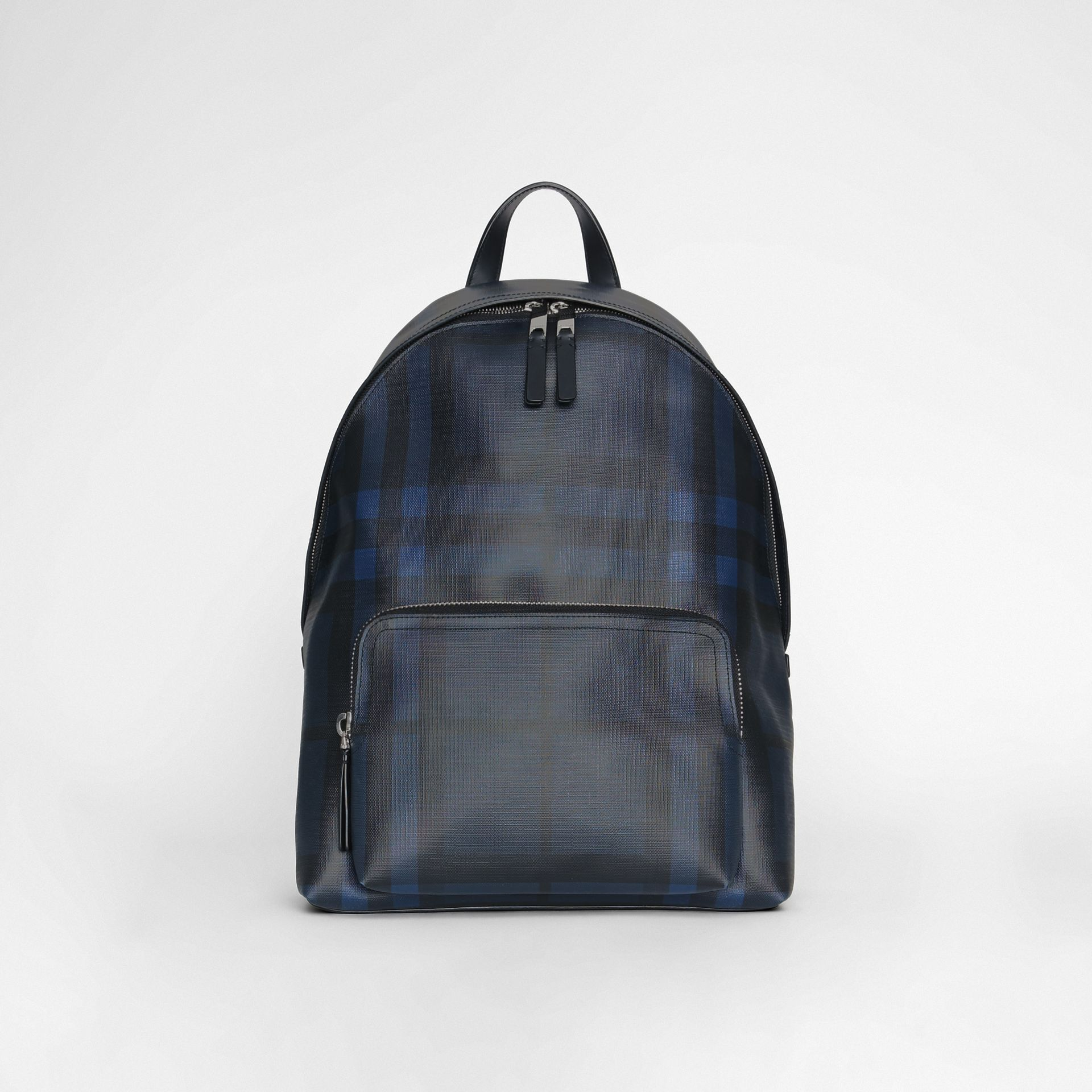 Leather Trim London Check Backpack in Navy/black - Men | Burberry - gallery image 0