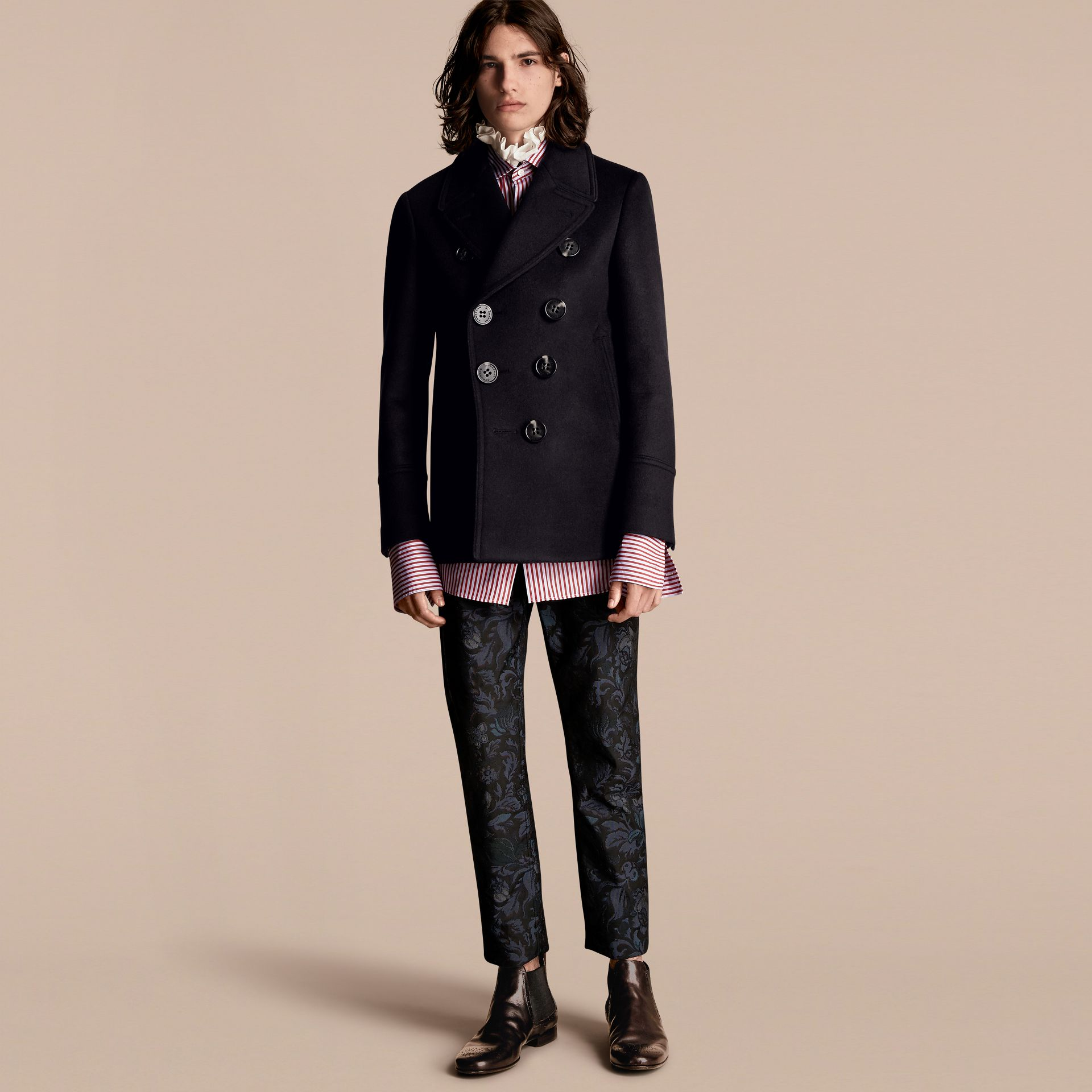 Navy Waisted Cashmere Wool Blend Pea Coat - gallery image 1