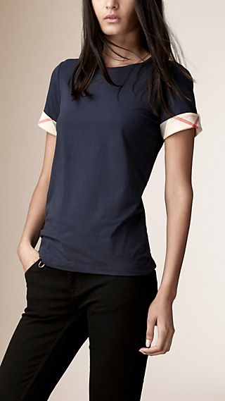 Check Cuff Stretch Cotton T-Shirt