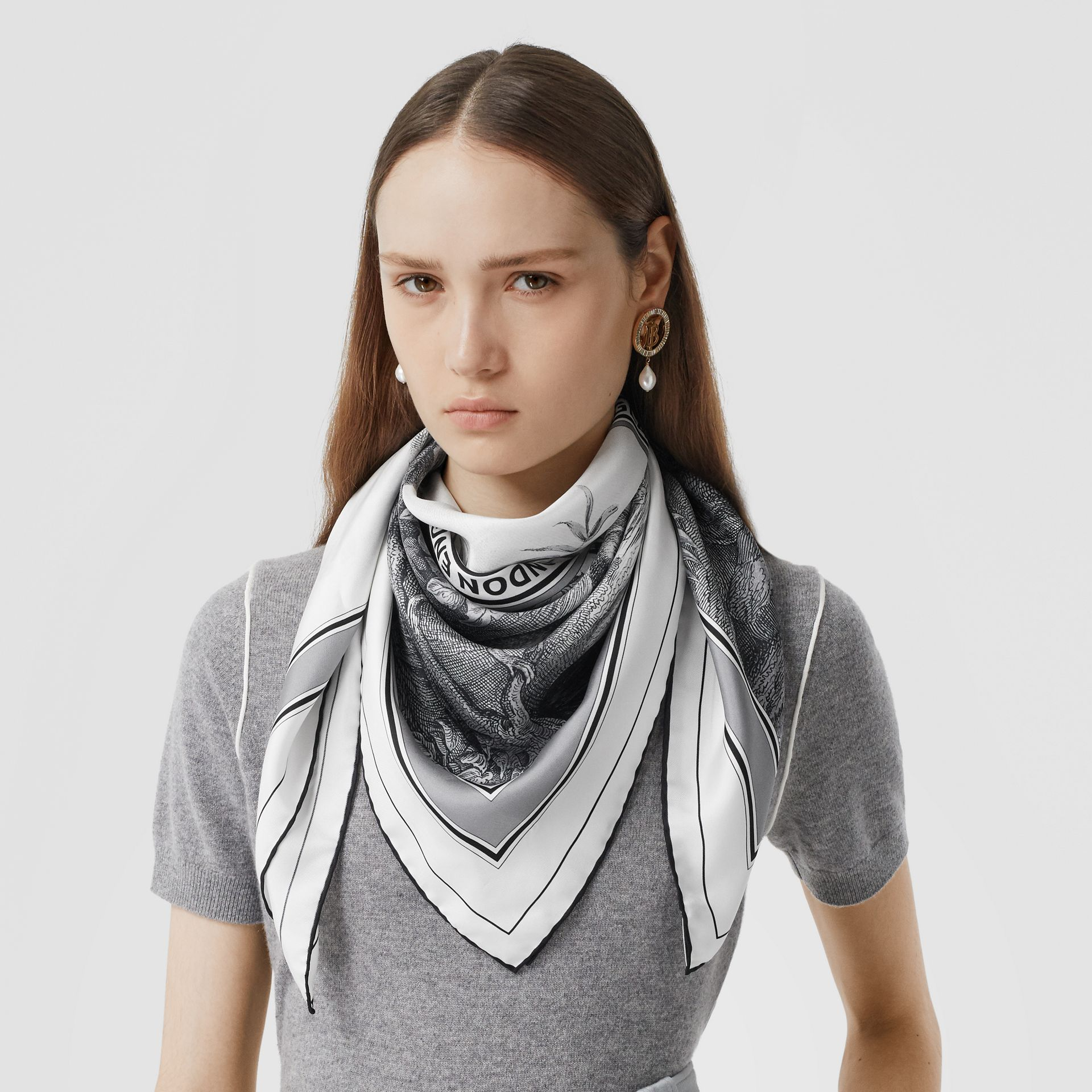 Monkey Print Silk Square Scarf in Monochrome | Burberry United Kingdom - gallery image 2