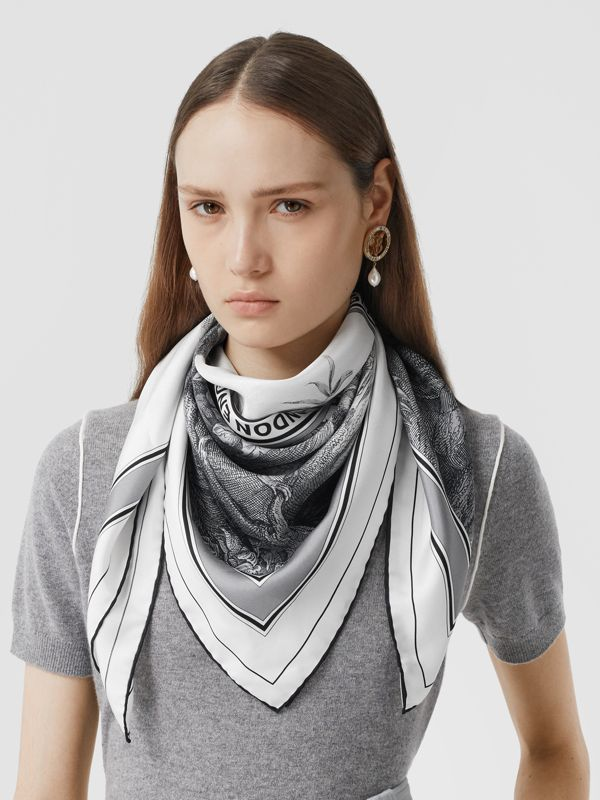 Monkey Print Silk Square Scarf in Monochrome | Burberry United Kingdom - cell image 2