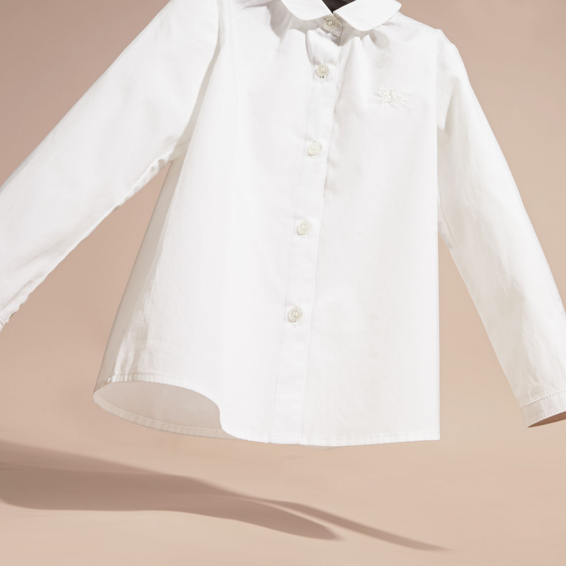 Peter Pan Collar Stretch Cotton Shirt in White - Girl | Burberry - gallery image 3