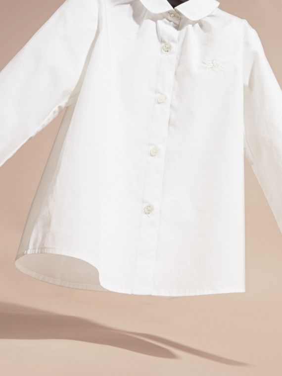 White Peter Pan Collar Stretch Cotton Shirt - cell image 2