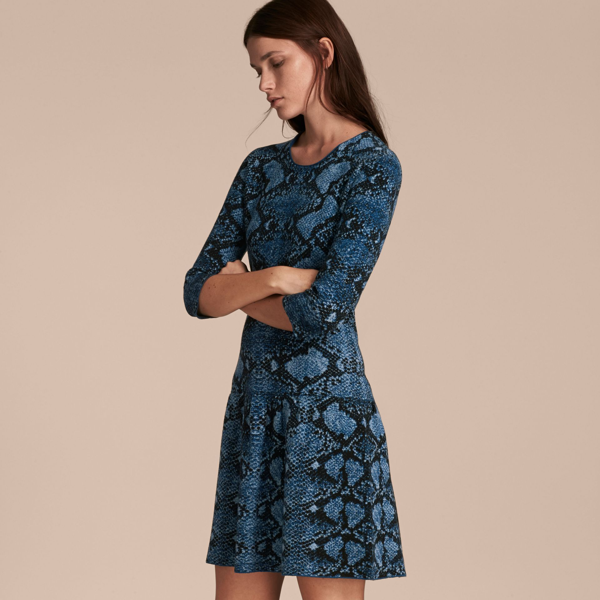 Mineral blue Python Jacquard Merino Wool Dress - gallery image 6