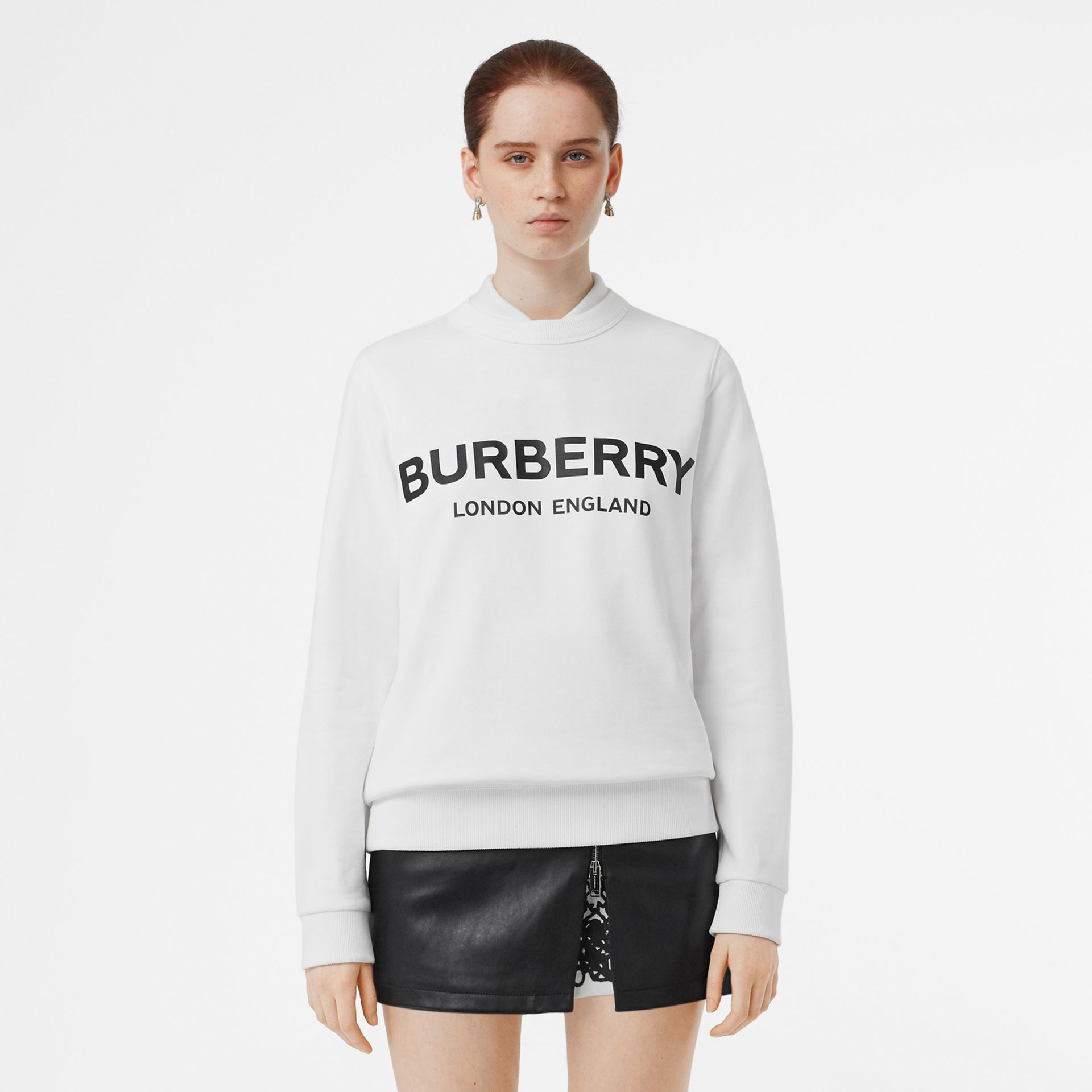 Logo Print Cotton Sweatshirt in White - Women | Burberry - gallery image 5