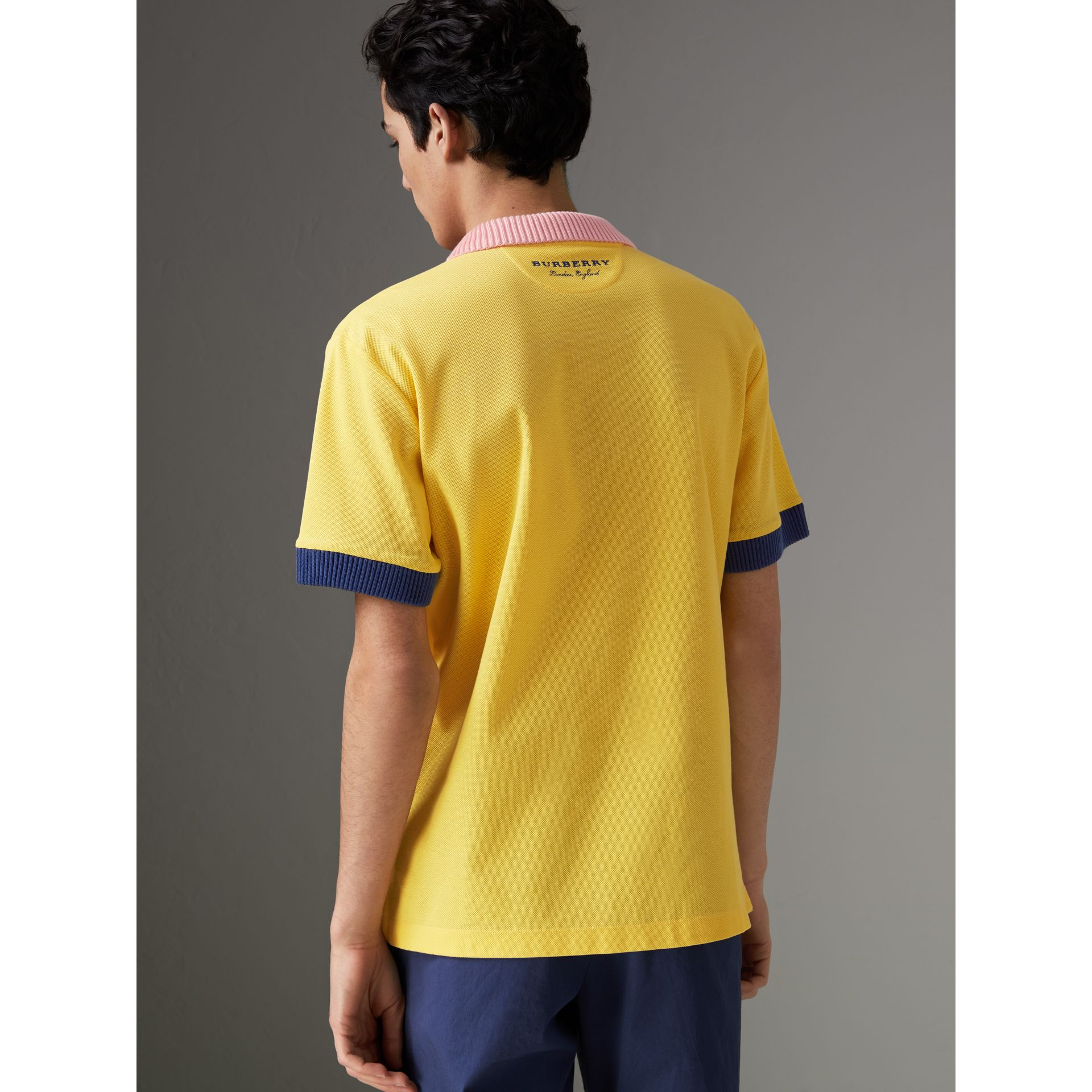 Two-tone Stripe Knitted Detail Cotton Polo Shirt in Saffron Yellow - Men | Burberry United States - gallery image 2