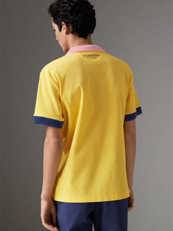 Two-tone Stripe Knitted Detail Cotton Polo Shirt in Saffron Yellow - Men | Burberry - cell image 2