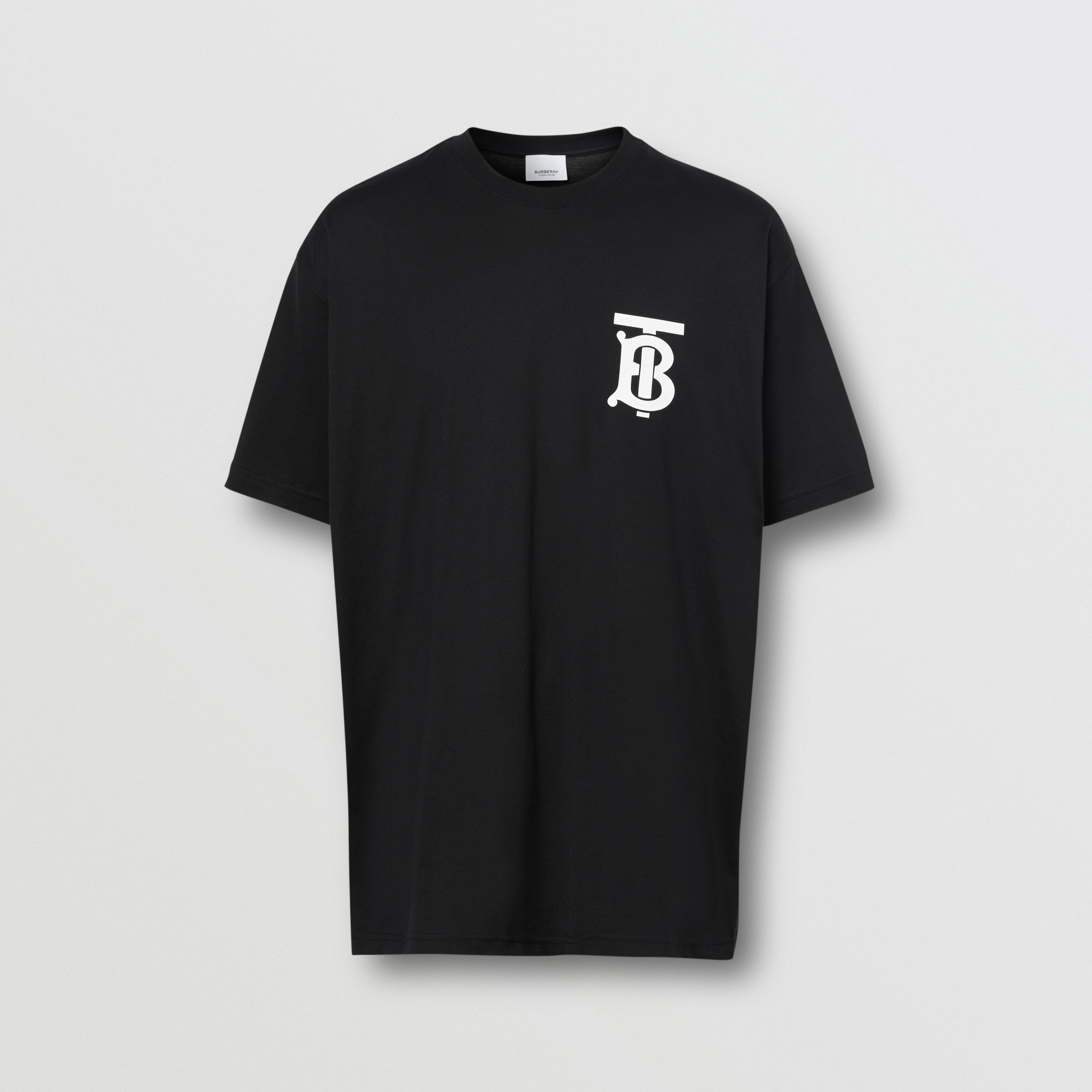 Monogram Motif Cotton Oversized T-shirt in Black - Men | Burberry Hong Kong S.A.R. - 4